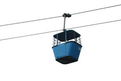 Isolated blue gondola lift with cables Stock Photos