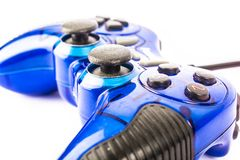 Isolated blue joystick for controller and play video game isolate. The isolated of the blue joystick for controller and play video game on white background Royalty Free Stock Image