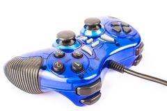 Isolated blue joystick for controller and play video game isolate. The isolated of the blue joystick for controller and play video game on white background Royalty Free Stock Photo
