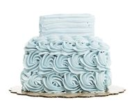 Isolated Blue Layered Butter Cream Cake Stock Photos