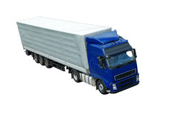 Isolated blue lorry with grey trailer (upper view) Stock Photography