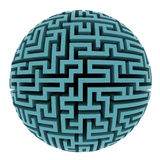 Isolated blue maze sphere planet shape Stock Photo