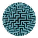 Isolated blue maze sphere planet shape. Illustration stock illustration