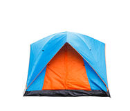 Isolated blue and orange dome tent Royalty Free Stock Images