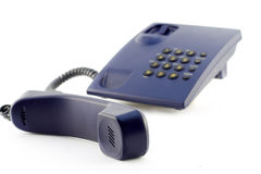 Isolated blue phone and handset Royalty Free Stock Images