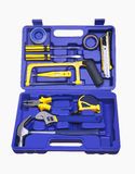Isolated blue plastic tool box. With different tools Royalty Free Stock Images
