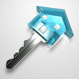 Isolated blue plastic transparent key. 3d image of a home shape key isolated on a white background Stock Photos