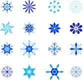Isolated Blue Snoflake Illustrations. Isolated blue snowflake illustrations, snow, winter holiday illustrations, Christmas decoration Royalty Free Stock Image