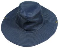 An isolated blue sun hat Royalty Free Stock Image