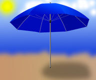 Isolated blue sun  umbrella  on the background Royalty Free Stock Photos