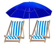 Isolated blue umbrella and two loungers on the background Royalty Free Stock Images