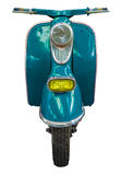 Isolated Blue Vintage Scooter. Isolation Of A Blue Vintage Retro Moped Or Scooter Royalty Free Stock Photography