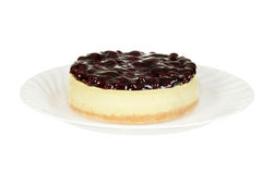 Isolated blueberry cheesecake Royalty Free Stock Photos