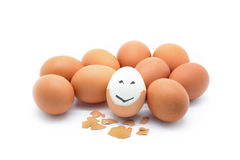 Isolated boiled egg with happy face Stock Images