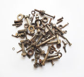 Isolated bolts and screws. Royalty Free Stock Photos