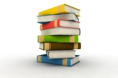 Isolated books. Pile of books - isolated on white background - photorealistic 3d render royalty free illustration