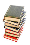 Isolated books stack. A vertical pile of books isolated on white background stock images