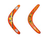 Isolated boomerangs on white background Stock Photos