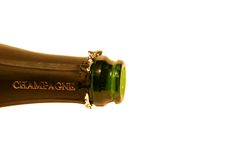 Isolated bottle of champagne. Neck of bottle of champagne Royalty Free Stock Images