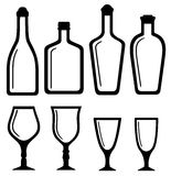 Isolated bottles and alcohol glass set Royalty Free Stock Photo