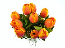 An isolated bouquet of colorful tulips on a vase of glass Stock Image
