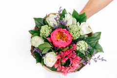 Isolated bouquet of peonies, roses and alstroemeria. Bouquet of peonies, roses and alstroemeria on white background Royalty Free Stock Photo