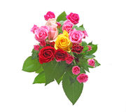 Isolated bouquet of roses with leaves Royalty Free Stock Image