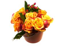 An isolated bouquet of yellow orange roses Stock Images