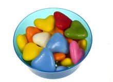 Isolated bowl with colorful sugar candies Royalty Free Stock Photos