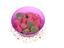 Isolated bowl with many sugar candies Stock Photos