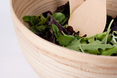 Isolated bowl of salad. Fresh baby greens in a bamboo bowl stock photos