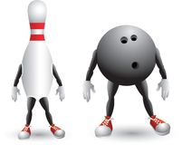 Isolated bowling ball and pin cartoon character Royalty Free Stock Image