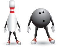 Isolated bowling ball and pin cartoon character Royalty Free Stock Image