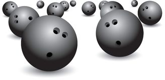 Isolated bowling balls. Isolated picture of scattered bowling balls Stock Photos