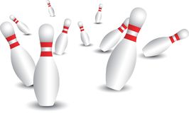 Isolated bowling pins Stock Images