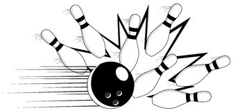 Isolated Bowling - Strike Illustration Royalty Free Stock Photo