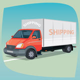 Isolated box truck with closed body vector illustration