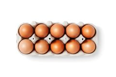 Free Isolated Box With Ten Brown Eggs On White Background Stock Image - 176249921
