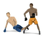 Isolated boxers fight. Isolated boxers fight on white background. African and caucasian people in uniform with gloves Royalty Free Stock Photos