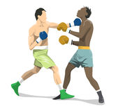 Isolated boxers fight. Isolated boxers fight on white background. African and caucasian people in uniform with gloves Royalty Free Stock Photography
