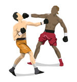 Isolated boxers fight. Isolated boxers fight on white background. African and caucasian people in uniform with gloves Stock Photography