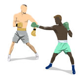 Isolated boxers fight. Isolated boxers fight on white background. African and caucasian people in uniform with gloves Royalty Free Stock Image