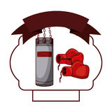 Isolated boxing glove and bag inside frame. Glove and bag inside frame icon. Boxing sport competition fight and training theme. Isolated design. Vector Royalty Free Stock Photography