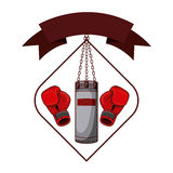 Isolated boxing glove and bag inside frame. Glove and bag inside frame icon. Boxing sport competition fight and training theme. Isolated design. Vector Stock Photo