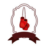 Isolated boxing glove inside frame. Glove inside frame icon. Boxing sport competition fight and training theme. Isolated design. Vector illustration Royalty Free Stock Photos