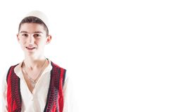 Isolated boy with Albanian traditional costume on white background Stock Image