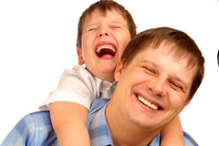Isolated boy and father Stock Photo