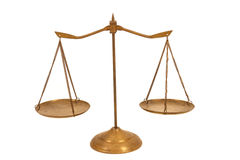 Isolated Brass Balance Scale Royalty Free Stock Photo