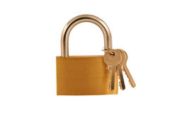 Isolated Brass lock and keys Stock Photography