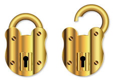 Isolated Brass Padlock Royalty Free Stock Image